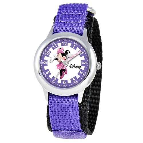 Kid's Minnie Mouse Time Teacher Watch in Purple Nylon