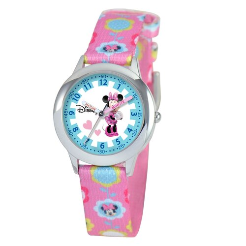 Kid's Minnie Mouse Time Teacher Watch in Pink Nylon
