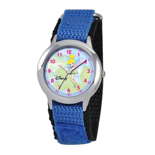 Disney Kid's Tinker Bell Time Teacher Velcro Watch in Blue