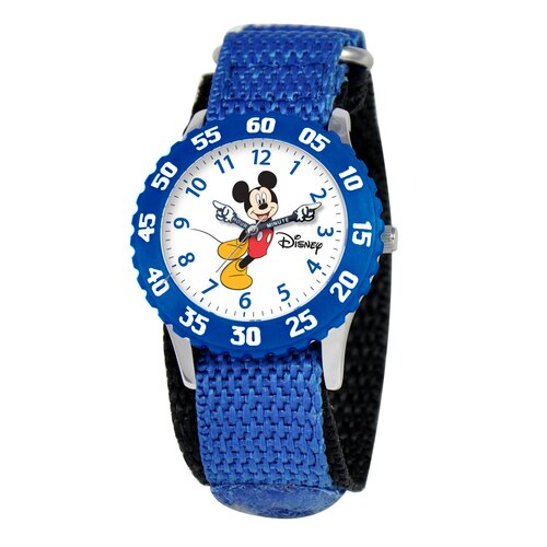 Disney Kid's Mickey Stainless Steel Time Teacher Velcro Watch in Blue with Blue Bezel