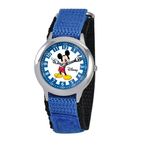 Disney Kid's Mickey Stainless Steel Time Teacher Velcro Watch in Blue