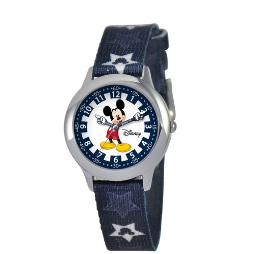 Disney Kid's Mickey Time Teacher Printed Strap Watch in Blue