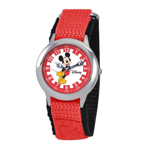 Disney Kid's Mickey Stainless Steel Time Teacher Velcro Watch in Red