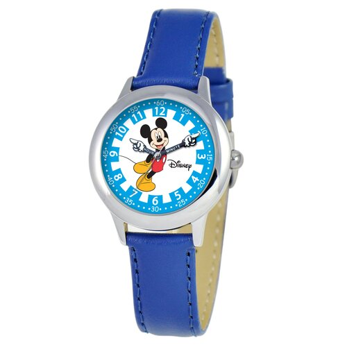 Kid's Mickey Stainless Steel Time Teacher Watch in Blue Leather