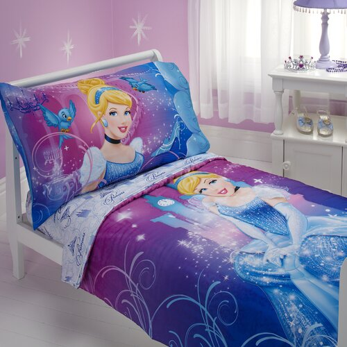 Cinderella Magic Happens 4 Piece Toddler Bedding Set
