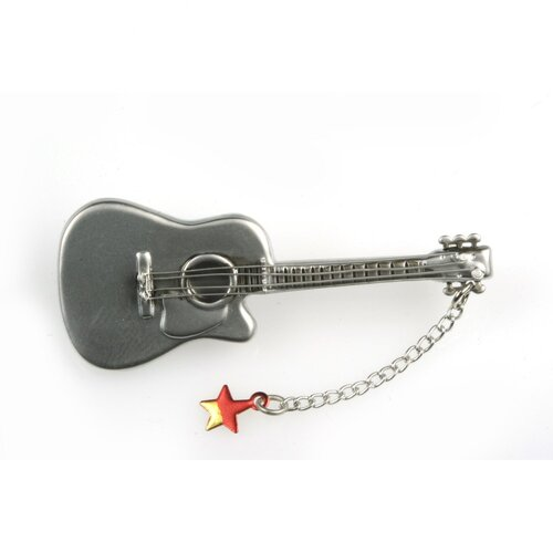 Guitar with Red Star Stick Pin in Matte Silver