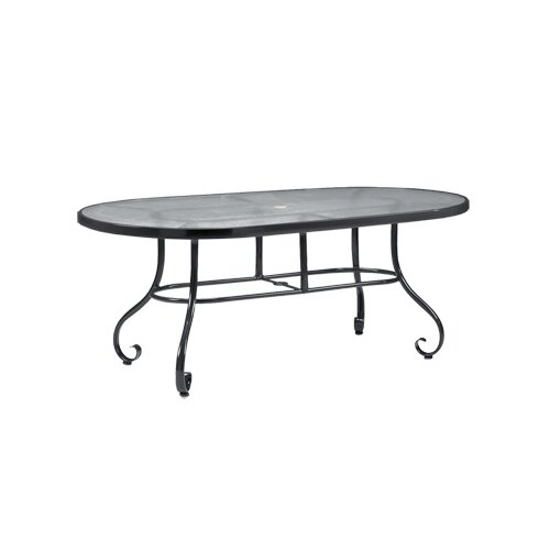 Woodard Ramsgate Oval Obscure Glass Dining Table