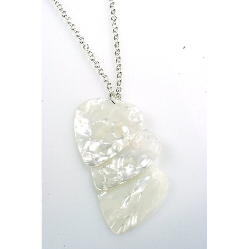 PickC Jewelry Guitar Pick Necklace in White and Silver