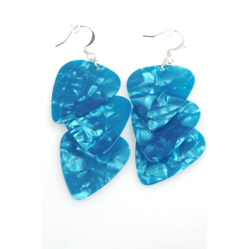 Guitar Pick Earrings in Turquoise and Silver