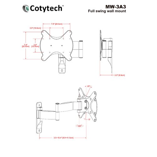 "Cotytech Extending Arm/Tilt/Swivel Corner Mount for 22"" - 37"" Plasma/LED/LCD"