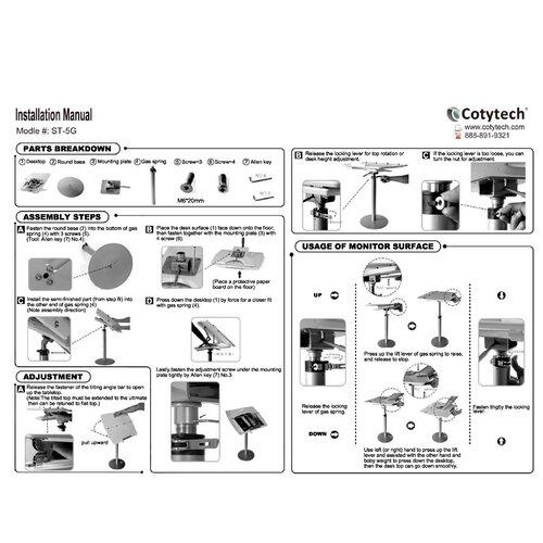 Cotytech Adjustable Fully Ergonomic Laptop Computer Desk