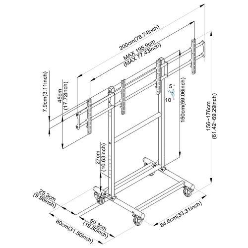 "Cotytech Adjustable Ergonomic Mobile Dual TV Cart for 32"" - 46"" Screen"