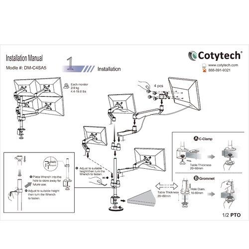 Cotytech 4 Screen Monitor Desk Mount