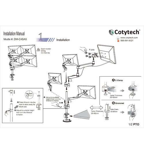 Cotytech 4 Screen Monitor Desk Mount