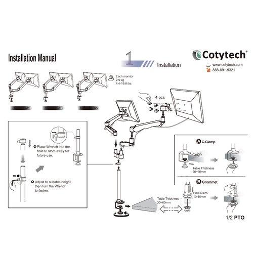 Cotytech Dual Desk Mount Spring Arm Quick Release