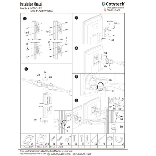 Cotytech 2 Screen Double Arm Monitor Wall Mount