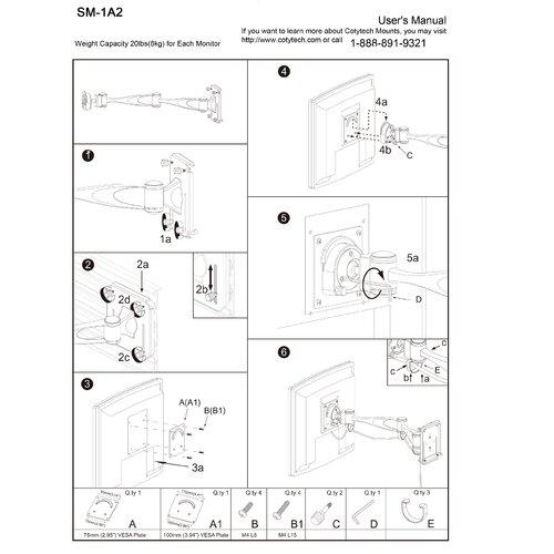 Cotytech Slatwall Double Extending Arm/Tilt/Swivel Mount for LCD