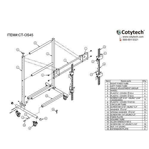 "Cotytech Adjustable Ergonomic Mobile TV Cart for 56"" - 70"" Screen"