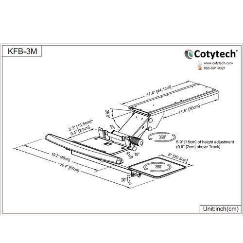 Cotytech Fully Adjustable Ergonomic Keyboard Mouse Tray