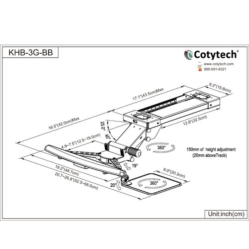 Cotytech Fully Adjustable Keyboard Mouse Tray Ball Bearing Composed of Keyboard Clamp