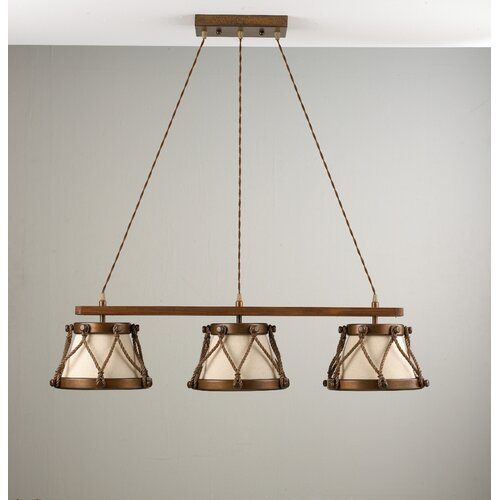 Lustrarte Lighting Rustik Tambor Three Light Chandelier