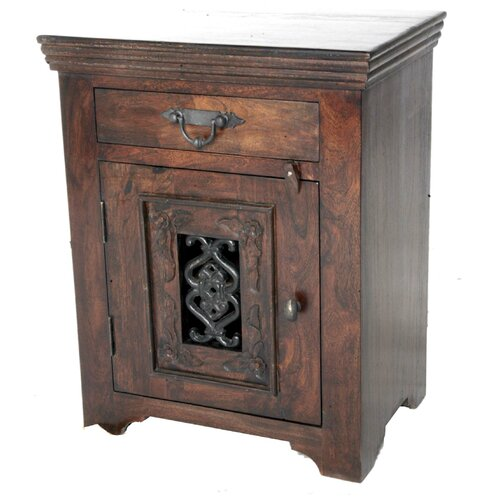 MOTI Furniture Mirage Jali 1 Drawer Nightstand