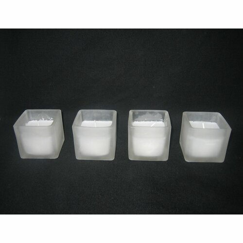 Votive Candles with Square Holders (Set of 24)