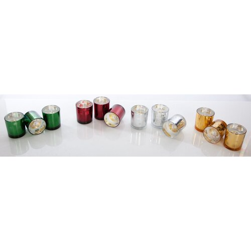 Light In the Dark Christmas Metallic Glass Votive Holders with Candles (Set of 6)