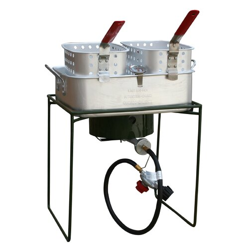 Sportsman Double Basket Outdoor Cooker and Fryer with Single Burner