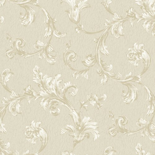 York Wallcoverings Royal Cottage Feathery Flumes Scroll Wallpaper