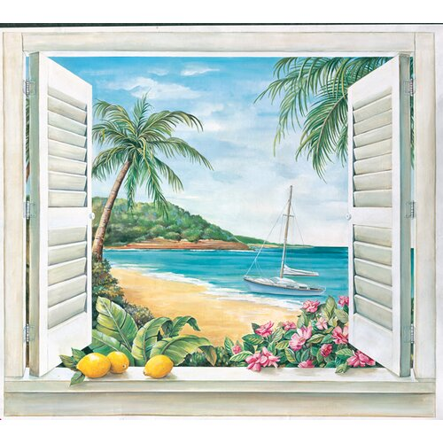 Portfolio II Trompe L'Oiel Tropical Paradise Window Accent Wall Mural