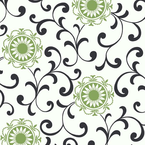 York Wallcoverings Silhouettes Daisy Medallion Scroll Wallpaper