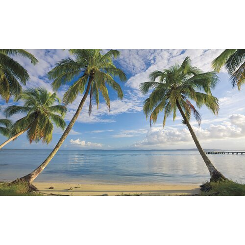 Portfolio II Beach View with Palm Trees Wall Mural