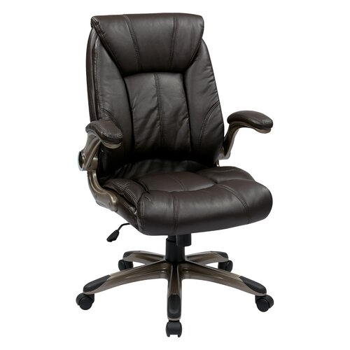Office Star Products Mid Back Managers Chair with Padded Flip Arms