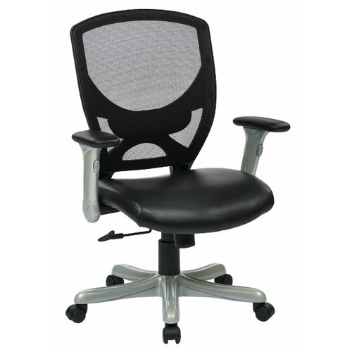 "Office Star Products 41"" Woven Mesh Back Chair with Padded Flip Arms"
