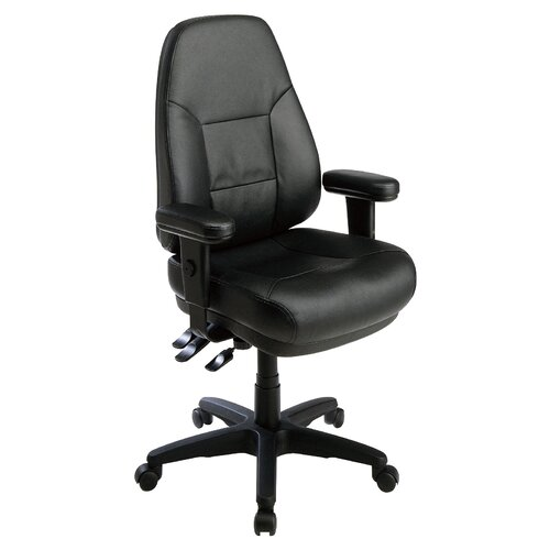 Office Star Products Professional Dual Function Ergonomic High-Back Leather Office Chair with Arms