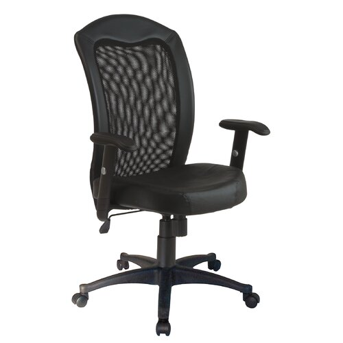 Office Star Products High-Back Leather Office Chair with Arms