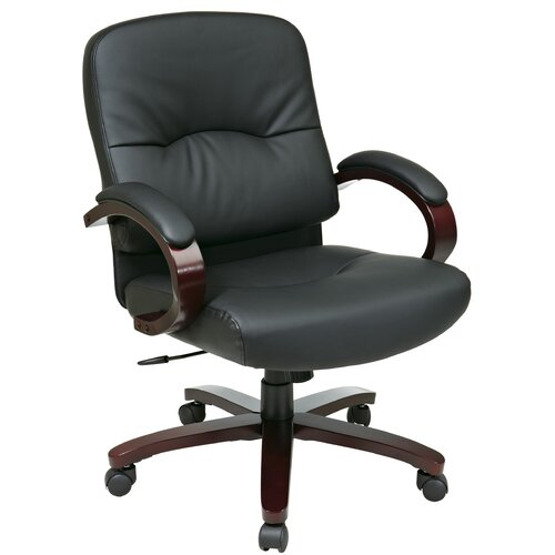 Office Star Products Mid-Back Leather Office Chair with Arms