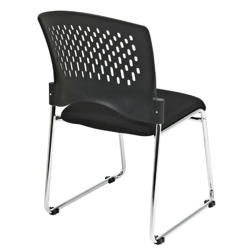 Office Star Products Plastic Back SpringFlex Fabric Seat Visitors Office Chair with Chrome Frame Sled Base, Gangable and Stackable
