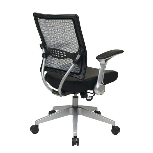 Office Star Products Air Grid Back Eco Leather Managers Chair with Flip Arms