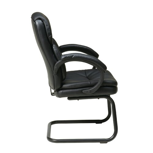 Office Star Products Eco Leather Back Visitors Chair with Padded Arms