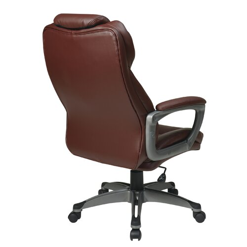 Office Star Products Eco Leather Executive Office Chair with Padded Arms