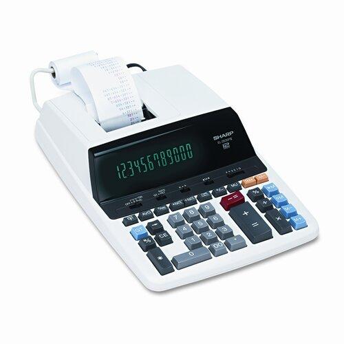 EL-2630PIII Desktop Calculator, 12-Digit Fluorescent, Two-Color Printing