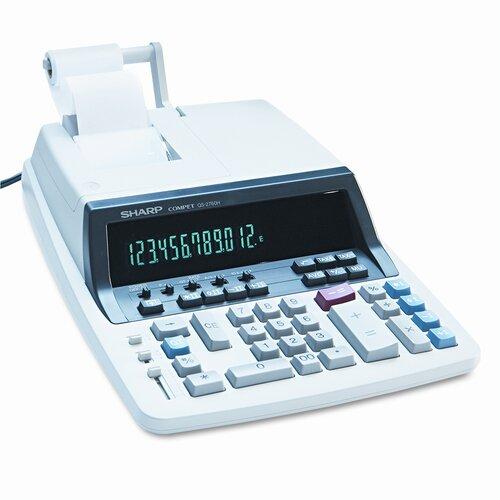 QS-2760H Desktop Calculator, 12-Digit Fluorescent, Two-Color Printing
