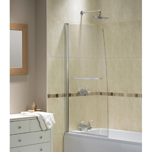 aqua 5 half frame bath shower screen in polished silver