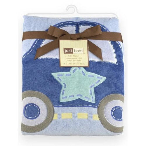 Just Born® Jumbo 3D Valboa Applique Blue Car Blanket
