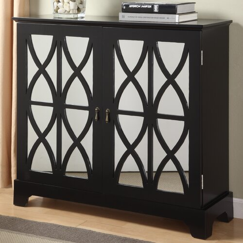 Powell Furniture Console Cabinet with Mirrored Glass Door