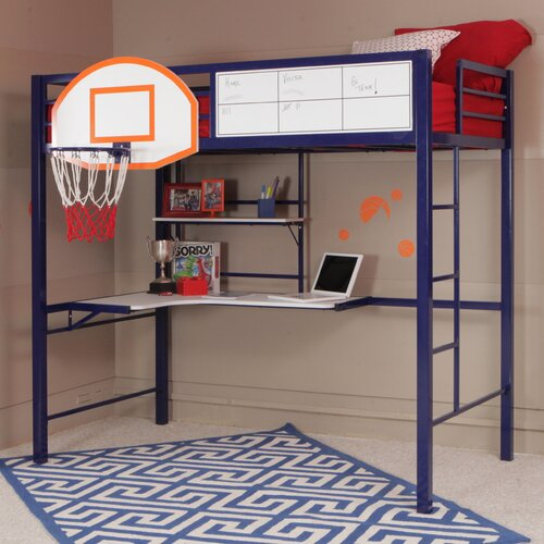 Powell hoops basketball twin loft bed with desk amp reviews wayfair