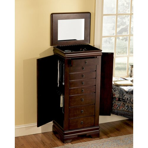 Powell Furniture Louis Philippe Jewelry Armoire with Mirror