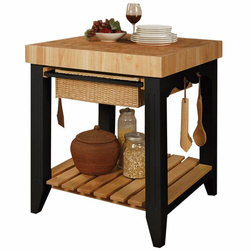 Powell Furniture Prep Table with Butcher Block Top